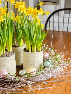 Make a beautiful spring and Easter display with daffodils and an Easter egg wreath with Four Generations One Roof
