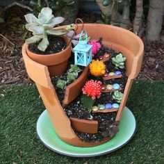 Make your own whimsical fairy garden with these creative DIY fairy garden ideas for inspiration. There are easy fairy garden ideas for containers, outdoors, and indoors. Broken Pot Garden, Fairy Garden Pots, Indoor Fairy Gardens, Fairy Garden Houses, Miniature Fairy Gardens, Garden Tools, Fairies Garden, House With Garden, Mini Cactus Garden