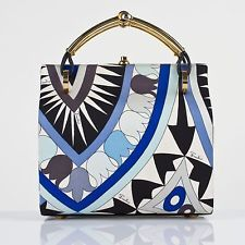 VTG 1960s EMILIO PUCCI BLUE SIGNATURE PRINT SILK BOX PURSE HANDBAG