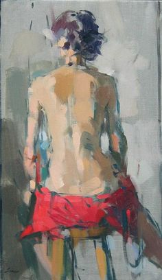 "Maggie Siner: ""Red Dress,"", oil on linen. Figure Painting, Figure Drawing, Painting & Drawing, Portrait Art, Portraits, Figurative Art, Love Art, Painting Inspiration, Contemporary Art"