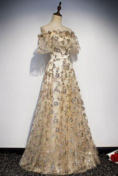 Charming champagne tulle lace long prom dress, off the shoulder gorgeous champagne evening dress - Style Evening Dresses Gorgeous Prom Dresses, Elegant Dresses, Pretty Dresses, Vintage Dresses, Pink Dresses, Casual Dresses, Short Dresses, Ball Dresses, Ball Gowns
