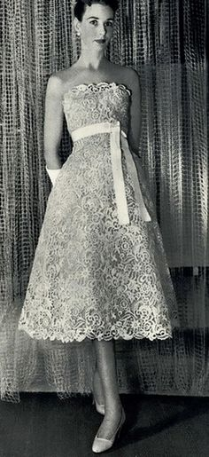 Jardin des Modes 1955 Lace Dress#Vintage boho wedding ...Wedding App for brides & grooms, bridesmaids & groomsmen, parents & planners ... the how, when, where & why of wedding planning ... https://itunes.apple.com/us/app/the-gold-wedding-planner/id498112599?ls=1=8 ♥ The Gold Wedding Planner iPhone App ♥