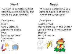 needs vs wants examples