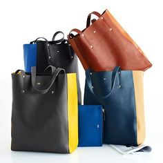 Piazza Leather Tote. Another wish list item! Beautiful in the charcoal grey with yellow sides.