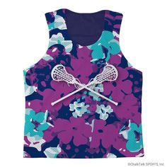 ChalkTalkSPORTS Girls Lacrosse Racerback Pinnie Flower Power with Crossed Sticks. 100% polyester. Pick, pull, pill resistant. Moisture and odor management fabric. Each pinnie is made to order - slight variations may occur due to material and process and there may be small amount of white mesh in the seams of the pinnie. Official ChalkTalkSPORTS Brand Product - Passionate about sports and the products we make.