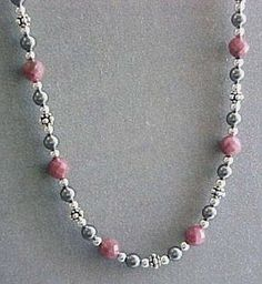 Rhodonite Hematite & Sterling Silver Handcrafted Necklace