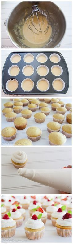 I'm pretty sure I need to make vanilla cupcakes with whipped frosting and a raspberry on top. Freshness for summer. .