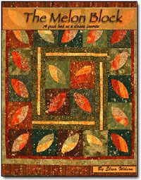 Melon Block Book by Elisa Wilson of Back Porch Designs at KayeWood.com. This book uses the Melon Block Template. The template is only three pieces and yet I have come up with 18 different quilt patterns. I also show you step by step how to use the placement lines to give you even more creative options. http://www.kayewood.com/item/Melon_Block_Book_by_Elisa_s_Backporch_Designs/1791 $24.95