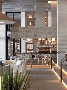 Luxurious interiors of the chic Miami Hotel next to the Atlantic