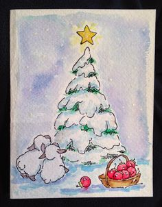 Art Impressions WC Series 4 Set 2 (Sku#4098) two lambs looking at a Christmas tree with star and a basket of ornaments.  Handmade Christmas card.