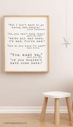 Funny minimalist Alice in Wonderland quote art for your living room or office wall decor. Click through now to see more details!
