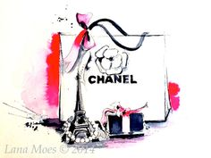 Etsy の Chanel Inspired print from Original Watercolor by LanasArt