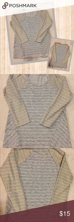 Trendy Stripe Tee Stripes...Stripes...Stripes! You're gonna love this! Gray and white with a slight gold cast on the sleeves! 💫 Never worn...took the tags off! ✨ Hannah Tops