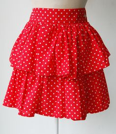 Red polkadot 1980's vintage rara skirt