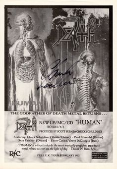 DEATH Human SIGNED Autographed PHOTO Print POSTER  Chuck Schuldiner Shirt 003 in Music, Music Memorabilia, Rock | eBay