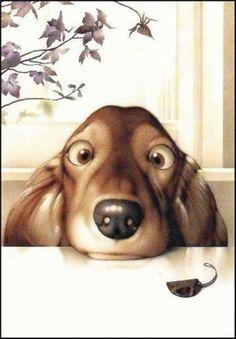 Art of Makoto Muranatsu Arte Dachshund, Dachshund Love, Daschund, Dog Paintings, Japanese Artists, Whimsical Art, Cute Illustration, Animal Drawings, Dog Drawings