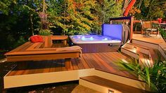 Decks and #Hottubs. With the right planning, a hot tub/spa can be the ultimate indulgence, and a great addition to your outdoor living space. Here are tips to start your installation off right.