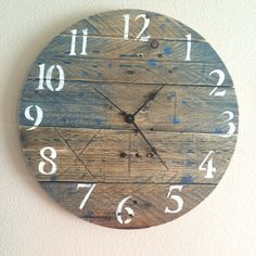 A personal favorite from my Etsy shop https://www.etsy.com/listing/238789862/16-pallet-clock-exact-clock-will-be