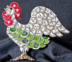 Rooster from bottle caps