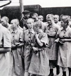 A photo of Jewish women prisoners at the Auschwitz extermination camp in 1944. Most Jews were killed upon arrival. The others were used as forced labor, starved, & brutally mistreated till death.