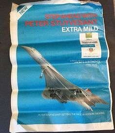 Vtg Peter Stuyvesant Cigarettes Newspaper Ad Full Page Colour B.A.Concorde 1976