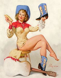 "Wall Art Print- Art Reproduction Vintage Sexy Pin-up Girl Gil Elvgren ""A Polished Perfomance"" 1954 8 x 10"""