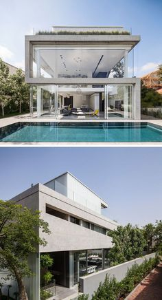 Concrete and glass have been used for the design of this modern home to keep it bright, airy, and open.