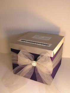 Please read my shop announcement !!!! bwithu.etsy.com  *This listing is included: 1 tier card #box (any color) Tulle ribbon ( choose color ) Rhinestones #silver trim and broo... #fabric #white
