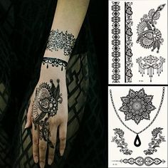 HJLWST 2 PC BlackLace Hena Tattoos Sticker W306-308 * For more information, visit image link. (This is an affiliate link) #Makeup