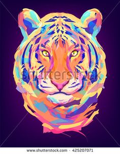 The tiger head on black background. Retro design graphic element. This is illustration ideal for a mascot and tattoo or T-shirt graphic. Stock illustration