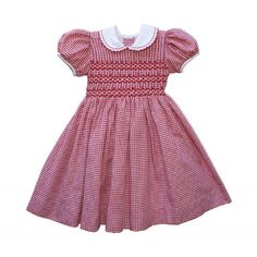 Red Check Smocked Dress by Chantal - dottiedoolittle.com