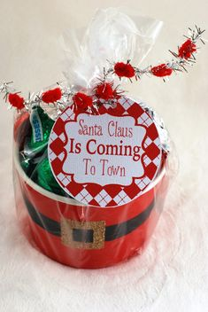 Gift wrapped Santa's belly container-free Santa Clause Is Coming To Town Tag