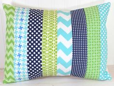 So so cute. Love all these colors together! and designs!Pillow Cover  12 x 16 Inches  Aqua Blue Navy by theredpistachio, $22.50
