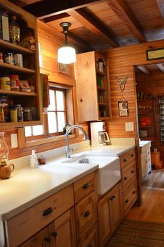 Galley Kitchen - reminds me of original cabin house in Oak Creek Canyon - cabinets do