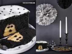 Nicest Things: Halloween Sweet Table in Black and White / Ghost Cake