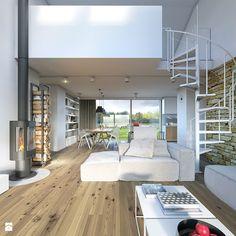RODZINNY 2 - projekt domu z antresolą - Średni salon z kuchnią z jadalnią z tarasem / balkonem, styl minimalistyczny - zdjęcie od DOMY Z WIZJĄ - nowoczesne projekty domów