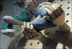 Artist's posable hands showcase Diesel® shoes in place of hooks, while even the pegboard-like background is of grand proportion. Diesel Shoes, Retail Fixtures, Adidas Sneakers, Hands, Cement, Fashion, Moda, Fashion Styles, Fasion