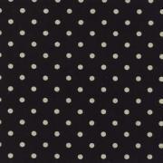 """Linen Mochi Dot (Black) 70% cotton/30% linen, lightweight canvas, 44/45"""" wide"""