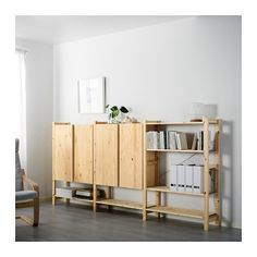 IKEA - IVAR, 3 section shelving unit w/cabinets, Untreated solid pine is a durable natural material that can be painted, oiled or stained according to… Ivar Regal, Armoire En Pin, Hacks Ikea, Pine Cabinets, Living Room Furniture, Home Furnishings, The Unit, House Design, Interior Design