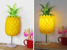 I've seen lots of plastic spoon lamps before, but this one is really amazing. It looks just like a pineapple- sweet DIY project idea! Super idea for inexpensive home decor - perfect for teens and kids rooms or even office decor. Fun weekend craft project, too.  All you need are yellow spoons,