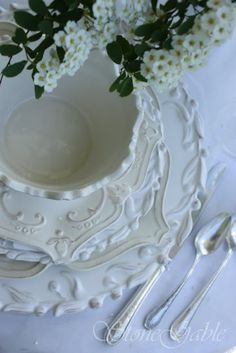 Simple white doesn't have to be boring, when the plates have beautiful texture and design.