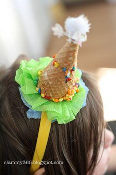 Ice cream cone party hats. Adorable.