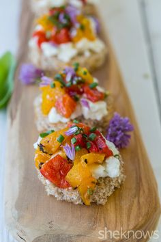 Feta, roasted peppers and chives tea sandwich recipe
