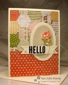 """3/1/2013; Julie Wadlinger at 'See Julie Stamp' website; """"Oh, Hello"""" stamp set; Tea for Two DP; Honeycomb Textured Impressions EF and Ovals Collection Framelits"""