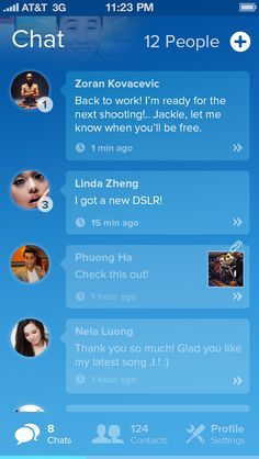 Blue Chat - Mobile interface UI UX