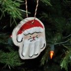 Hand Print Santa Ornaments using Salt Dough