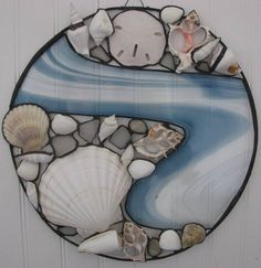 seashells in fused glass Faux Stained Glass, Stained Glass Designs, Stained Glass Panels, Stained Glass Projects, Stained Glass Patterns, Mosaic Art, Mosaic Glass, Fused Glass, Blown Glass