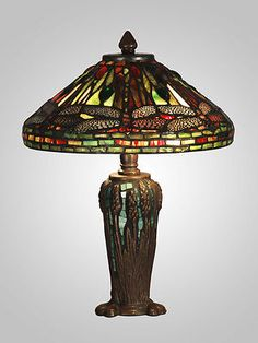 "Dale Tiffany Dragonfly Jewel Antique Tiffany Style ""MUSEUM"" Table Lamp TT10333"