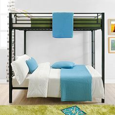 Complete your kid's room with this Full over Full size Sturdy Black Metal Bunk Bed. With square posts and simple design, this bunk bed will complement any room Metal Bunk Beds, Full Bunk Beds, Bunk Beds With Stairs, Kids Bunk Beds, Full Bed, Mattress Frame, Full Size Mattress, Bedroom Black, Black Bedding