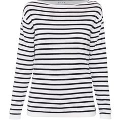 Blue White And Navy Narrow Striped Cotton Sweater (£120) ❤ liked on Polyvore featuring tops, sweaters, shirts, stripes, blue shirt, blue sweater, cotton sweaters, striped long sleeve shirt and blue striped shirt